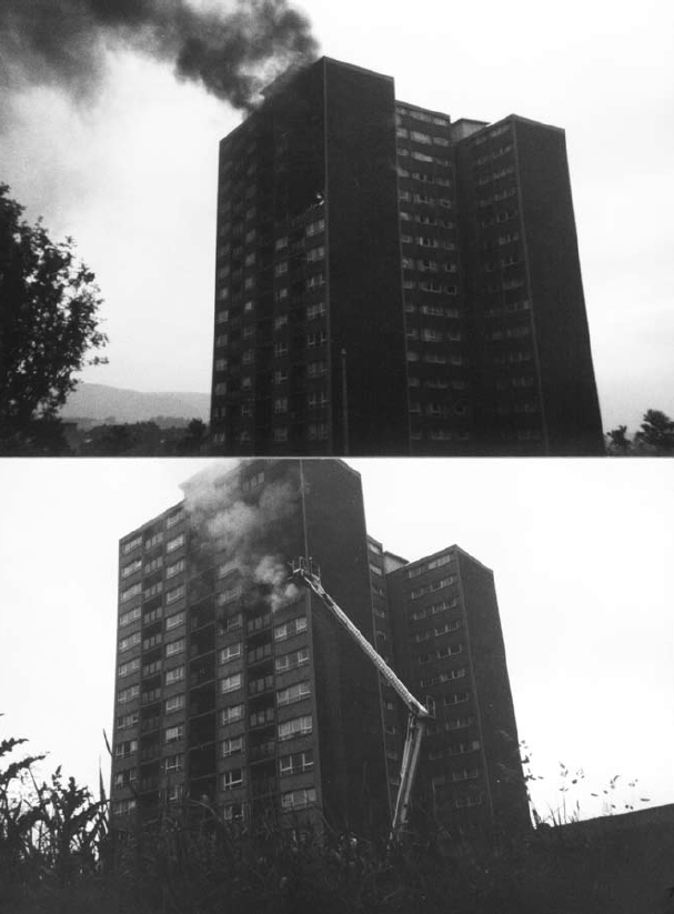 Fire in the flats at Oxgangs