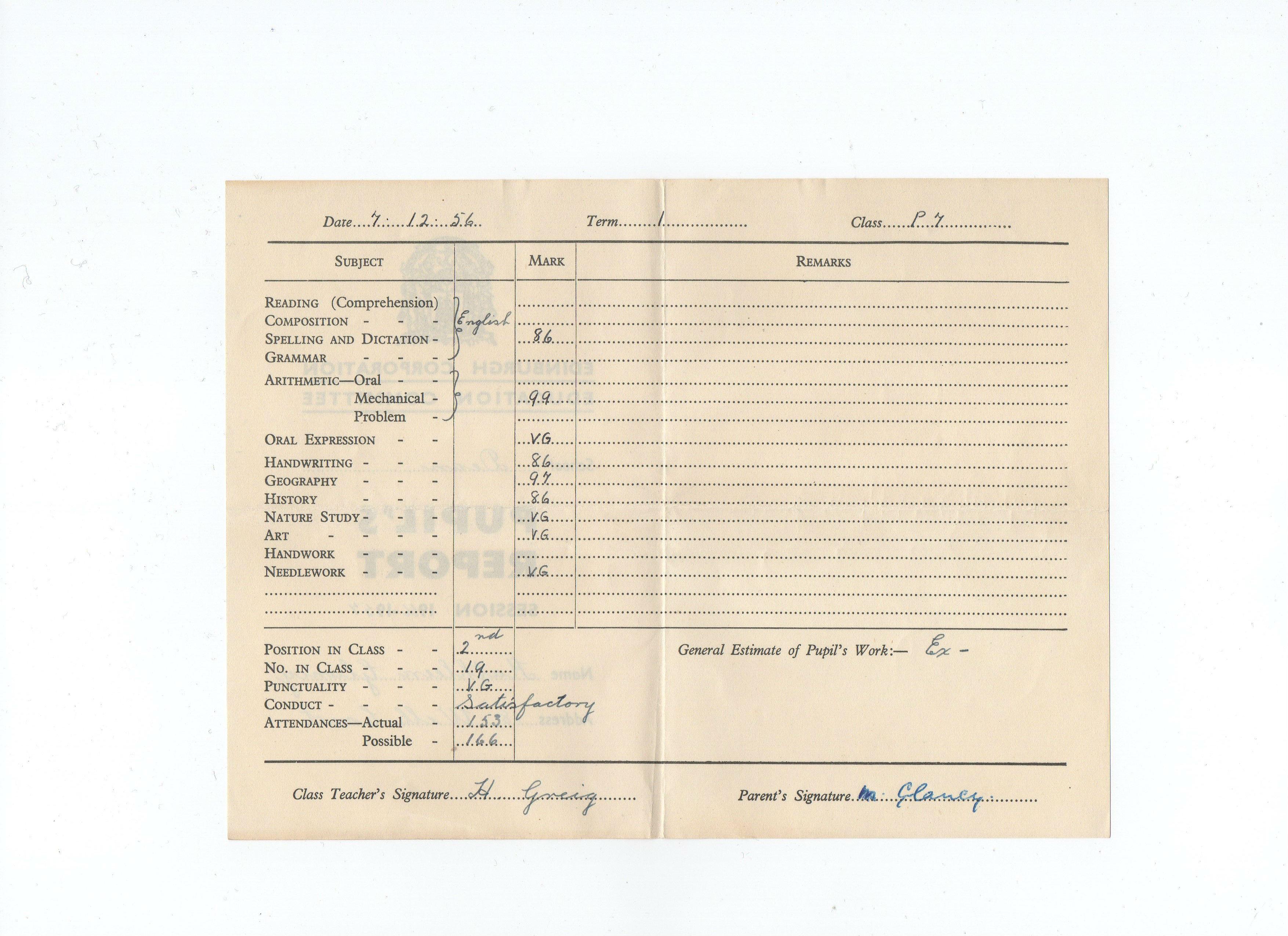 Kathleen Glancy's P7 Pupil's report from Dean School