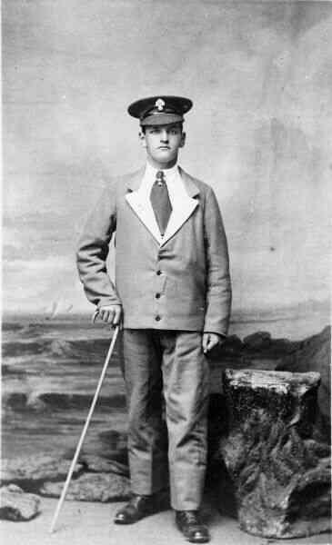 Soldier In Blue Convalescence Uniform 1917