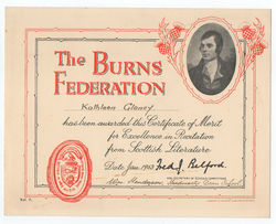 Burns Federation Certificate awarded to Kathleen Glancy