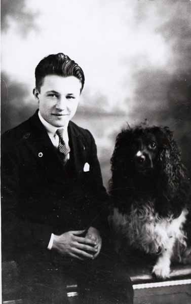 Studio Portrait Young Man And His Dog 1932