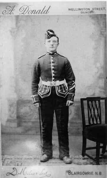 Studio Portrait Young Gordon Highlander 1880s