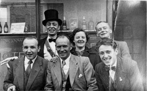 Group Of Drinkers Outside Pub 1940s