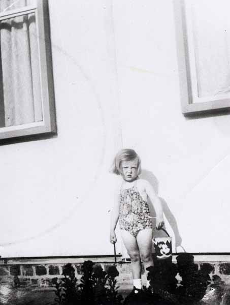 Young Girl With Bucket And Spade Outside Prefab c.1951