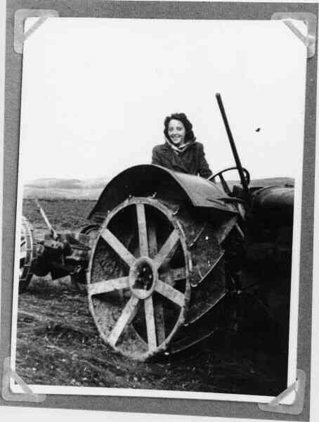 Land Army Girl Driving Tractor 1942