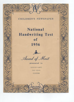 National Handwriting Test of 1956 - Award of Merit given to Kathleen Glancy