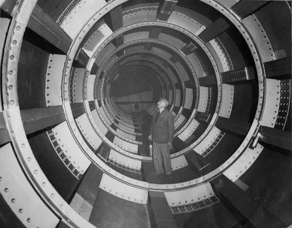 Man Standing Inside Interior Of Forth Bridge Support 1950