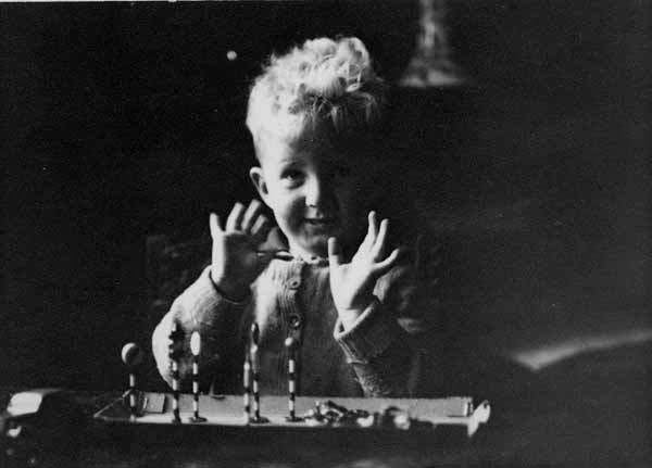 Young Boy With Traffic Playset 1940