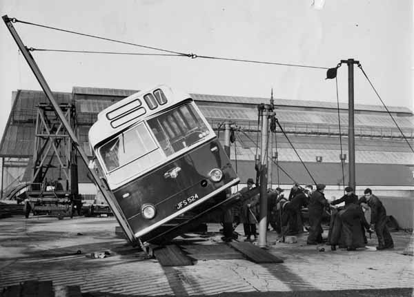 Mechanics Working On Coach At Shrubhill Bus And Tram Depot c.1960