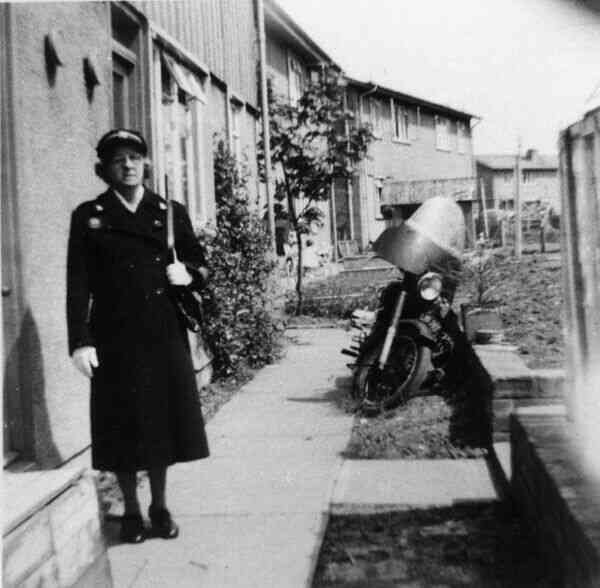 Red Cross Nurse In Uniform And Coat Outside Home At Craigour 1953