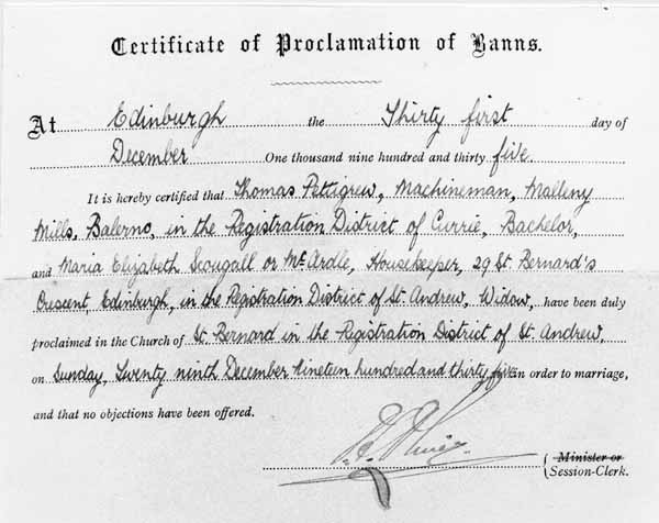 Certificate of Proclamation of Banns 1935