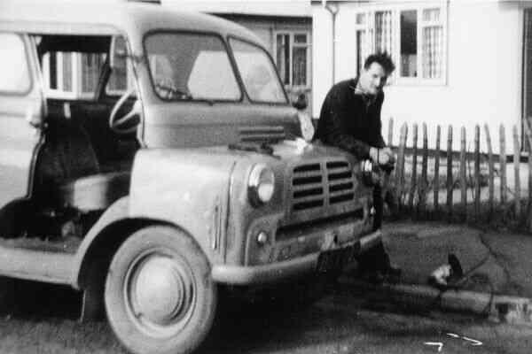 Man Working On Bedford Dormobile Outside Prefab Housing At Moredun 1950s