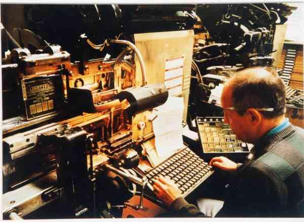 Man Working At Linotype Machine 1992