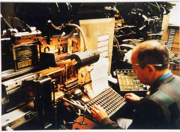 Man Working At Linotype Machine 1992