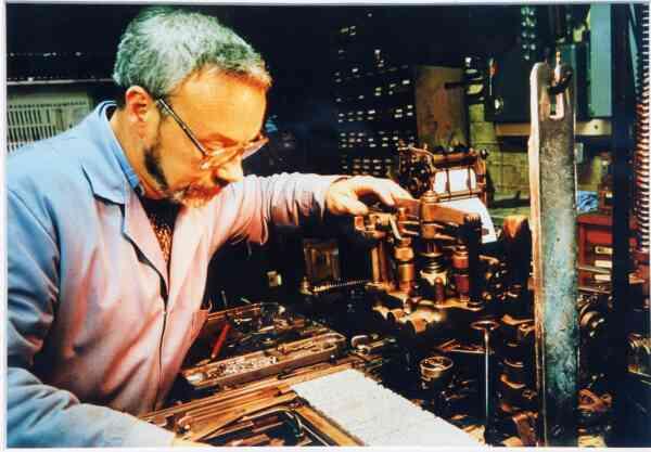 Man Working At Speedspools Monotype Printers At Gayfield Place Lane 1992