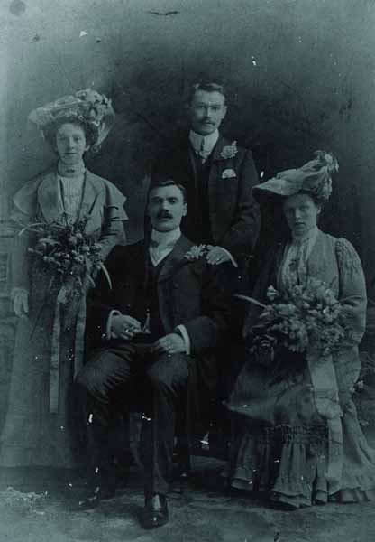 Studio Portrait Gentlemen And Ladies c.1900