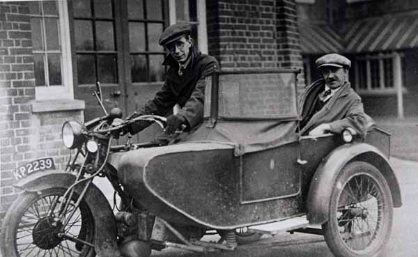 Driver And Passenger In Motorcycle And Sidecar 1930s