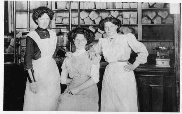 Three Female Employees At Baker's Shop c.1913