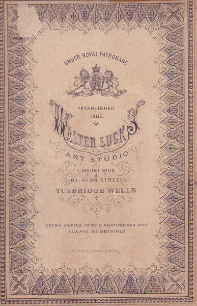 Walter Luck's Photography Studio Card c.1885