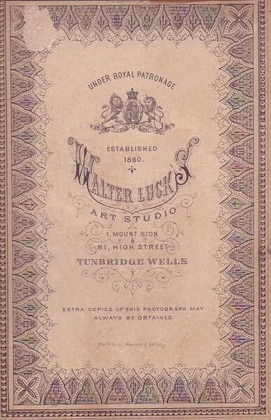 Walter Luck's Photography Studio Card c.1885
