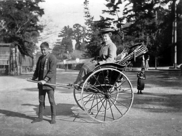 Rickshaw Runner And Passenger 1920s