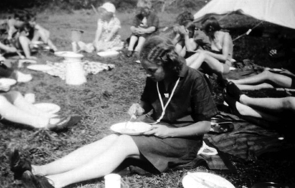 Guides Eating On Camp c.1932