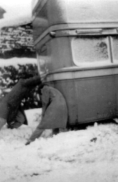 Giving The Bus A Push In The Snow 1935