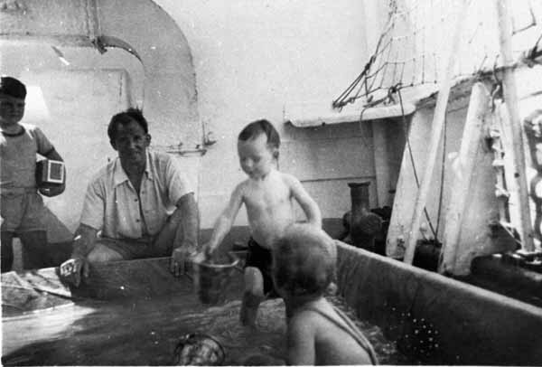 Children Playing In Paddling Pool On Cruise Liner 1954