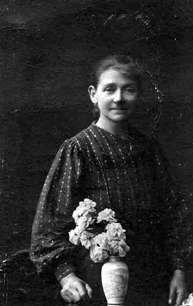 Studio Portrait Woman With Vase Of Flowers 1925