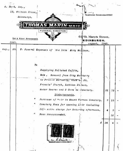 Funeral Director Invoice 1945