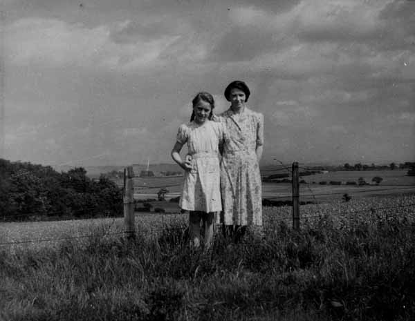 Woman And Girl By Fields At Castlebrae 1949