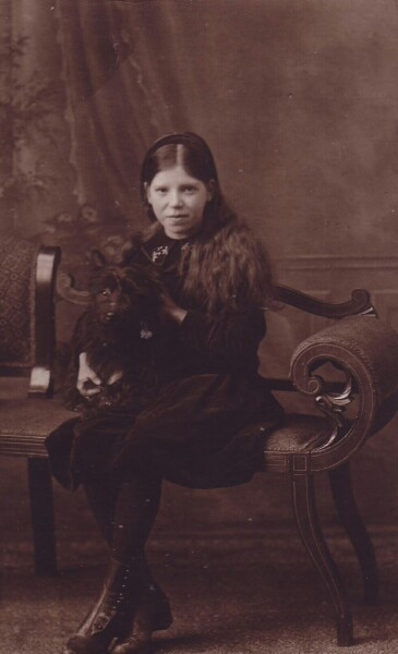 Studio Portrait Girl With Dog c.1918