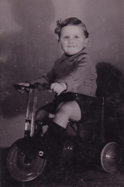Young Boy On Tricycle In Living Room c.1947