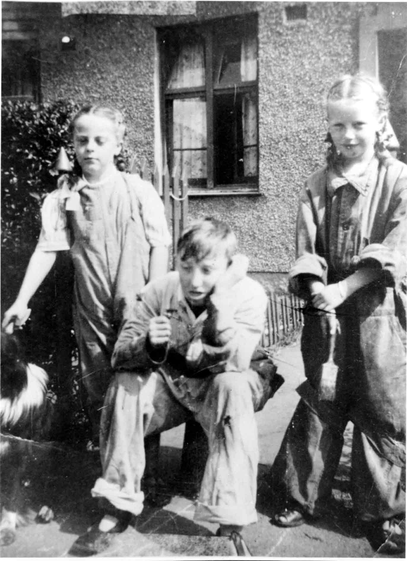 Children In Overalls Ready To Paint Fence c.1946