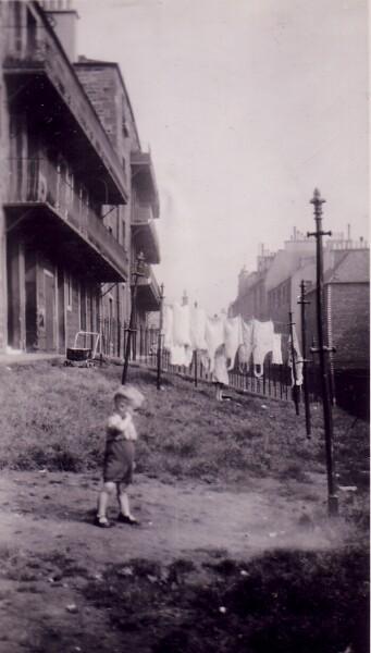 Young Boy In The Back Green At 38 Dumbiedykes Road c.1950