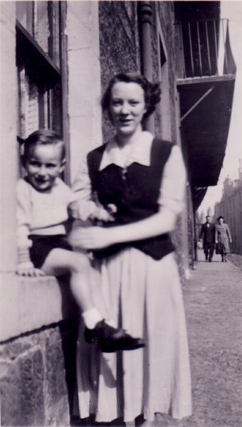 Brother And Sister Outside Their Home At 38 Dumbiedykes Road c.1950
