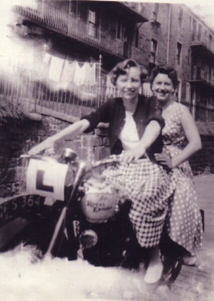 Two Young Women On Motorbike At Dumbiedykes Road 1952