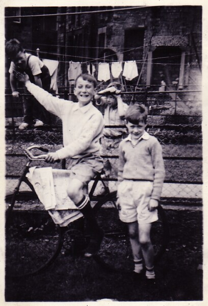 Boys With Bicycle In Back Green At 10 Bellevue Street c.1955