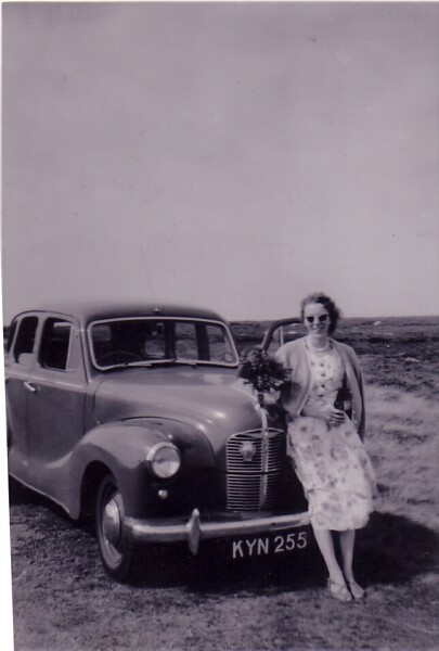 Woman Standing By Bonnet Of Car c.1959