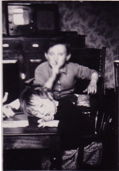 Two Children At The Kitchen Table At 42 Dumbiedykes Road c.1954