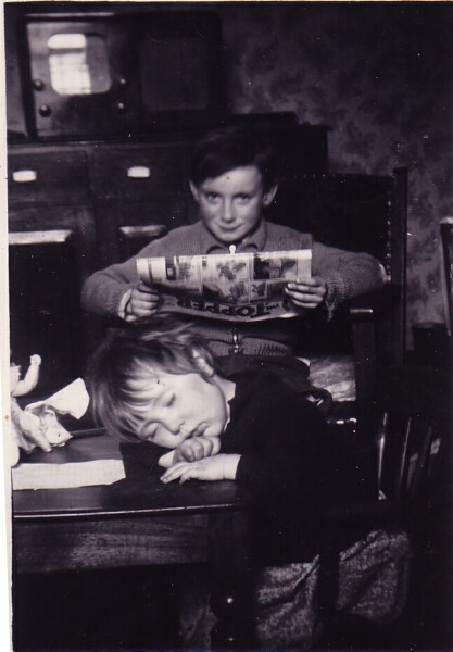 Two Children At The Kitchen Table At 42 Dumbiedykes c.1954