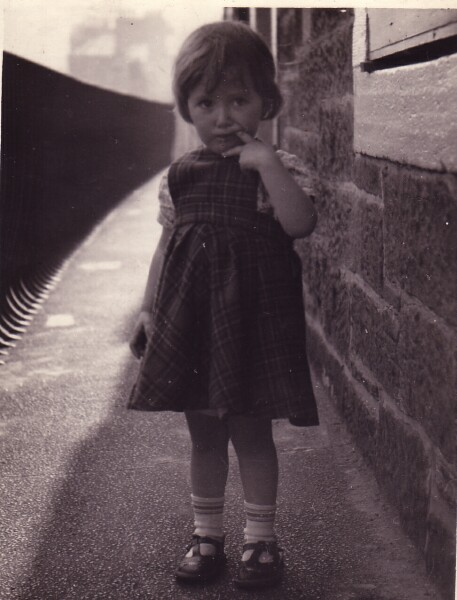 Young Girl On Tenement Balcony At 42 Dumbiedykes Road 1954