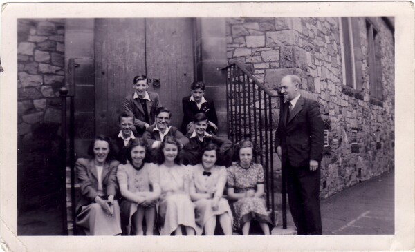 James Clark School Class Sitting By Boys Playground, June 1949