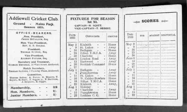 Addiewell Cricket Club Fixtures And Score Card 1925