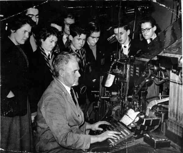 Linotype Demonstration To Group Of School Pupils 1959