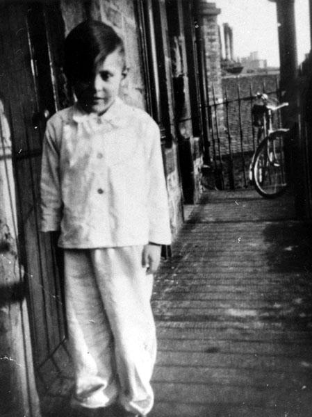 Young Boy In Pyjamas On Tenement Balcony Abbey Strand 1950