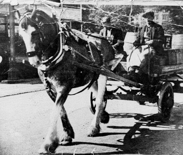 Horse-Drawn Cart Delivering To Pubs 1940