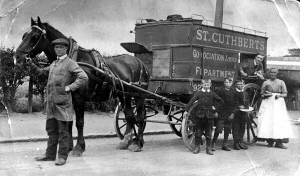 Horse-Drawn St Cuthbert's Butcher Van At Stenhouse Mills 1918