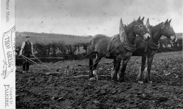 Ploughman With Horses Tilling The Soil 1930