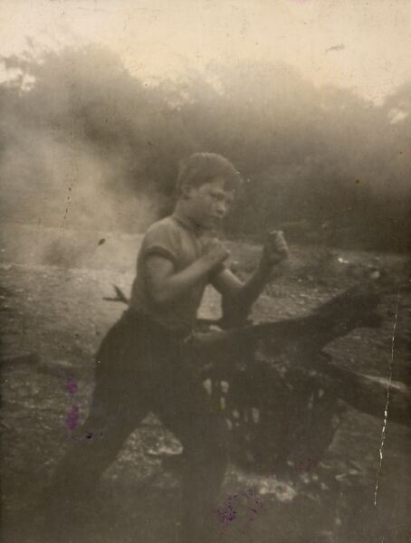 Boy Squaring Up In Boxing Pose, late 1940s